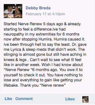 Debby Breda providing her Neuropathy Support Formula review on Facebook
