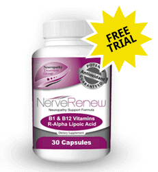 A free trial bottle of Nerve Renew with 30 capsules by Neuropathy Treatment Group