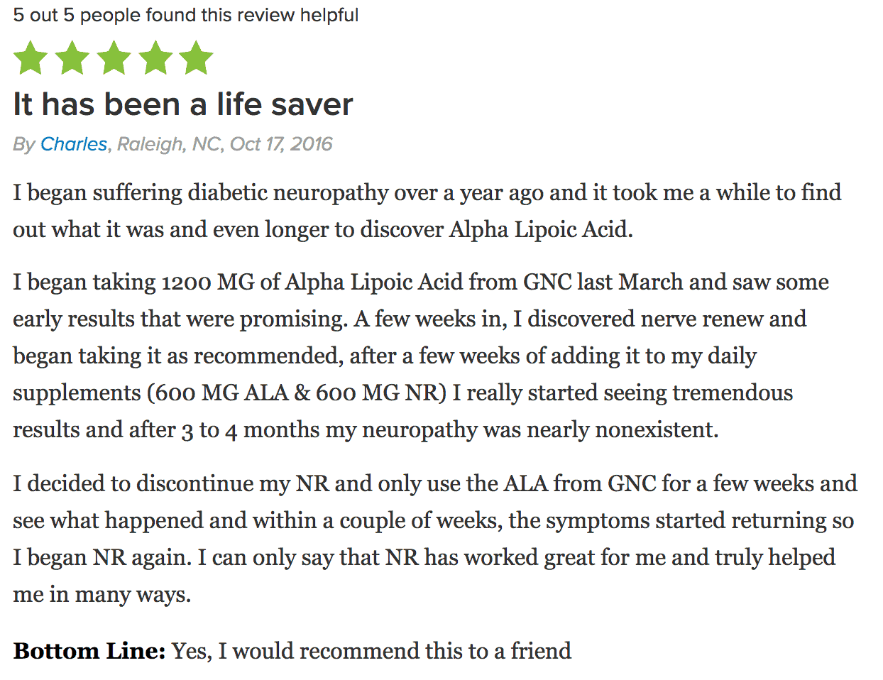 A satisfied customer shares their review of Nerve Renew.