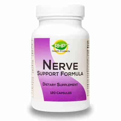 A bottle of Nerve Support Formula by Real Health Products company