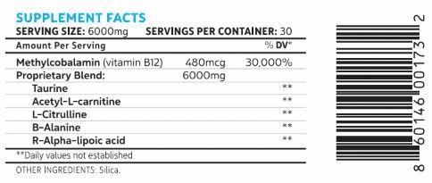 Neuropaway Ingredients Label