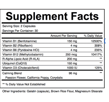 Nervexol ingredients supplement label