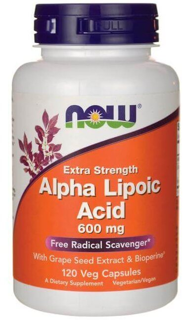 NOW extra strength alpha lipoic acid 600mg capsules