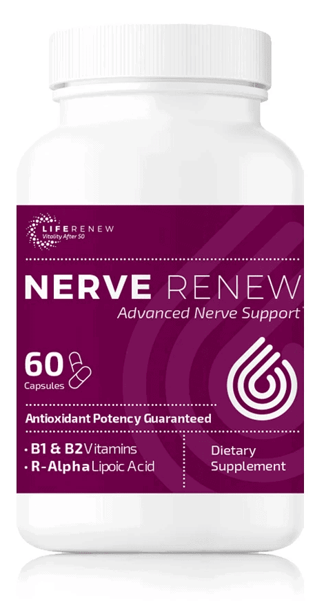 A 60 capsule bottle of Nerve Renew with 30 capsules by Neuropathy Treatment Group